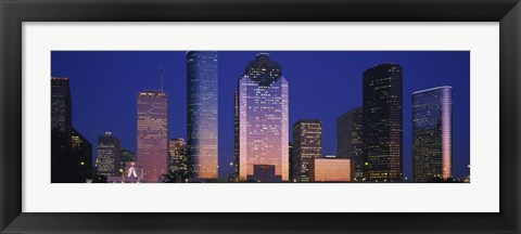 Framed Houston skyscrapers at night, Texas Print