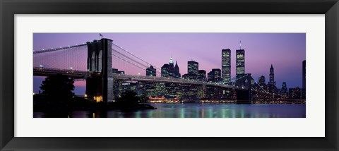 Framed Brooklyn Bridge at night, New York Print