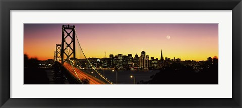 Framed San Francisco Bay Bridge with Moon in Sky Print