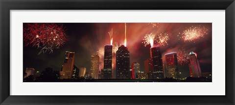 Framed Fireworks over buildings in a city, Houston, Texas Print