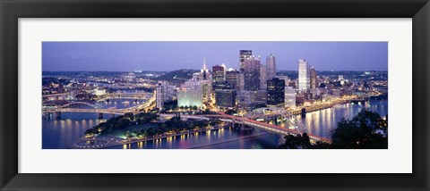 Framed Buildings in a city lit up at dusk, Pittsburgh, Allegheny County, Pennsylvania, USA Print