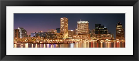 Framed Baltimore Lit Up at Dusk, Maryland Print