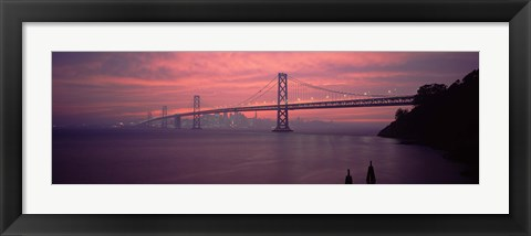 Framed Bridge across a sea, Bay Bridge, San Francisco, California, USA Print