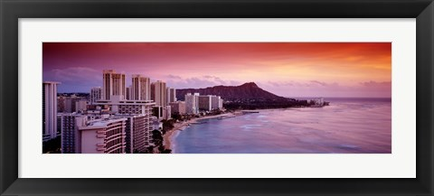 Framed Sunset Honolulu Oahu HI USA Print