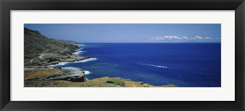 Framed High angle view of a coastline, Oahu, Hawaii Islands, USA Print