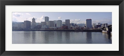 Framed Skyscrapers along the river, Portland, Oregon, USA Print