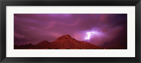 Framed Storm over Tucson AZ Print