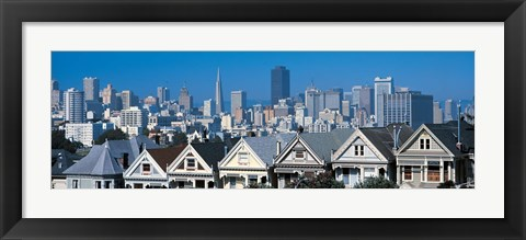 Framed Victorian houses Steiner Street San Francisco CA USA Print