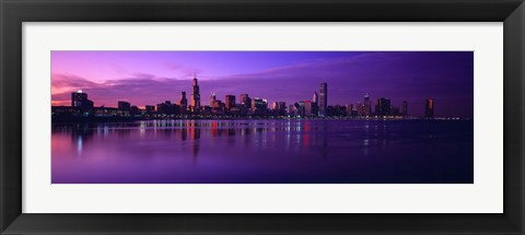 Framed Buildings at the waterfront lit up at dusk, Sears Tower, Hancock Building, Lake Michigan, Chicago, Cook County, Illinois, USA Print