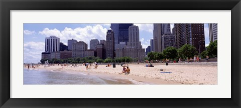 Framed Group of people on the beach, Oak Street Beach, Chicago, Illinois, USA Print