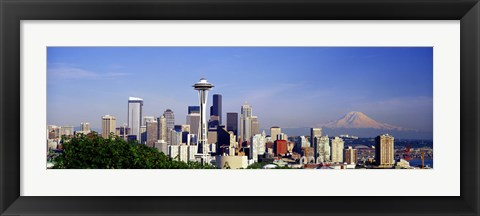 Framed Skyscrapers with mountain in the background, Mt Rainier, Mt Rainier National Park, Space Needle, Seattle, Washington State, USA Print