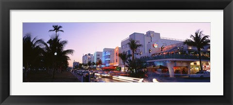 Framed Buildings Lit Up At Dusk, Ocean Drive, Miami, Florida, USA Print