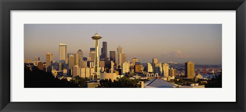Framed High angle view of buildings in a city, Seattle, Washington State, USA Print