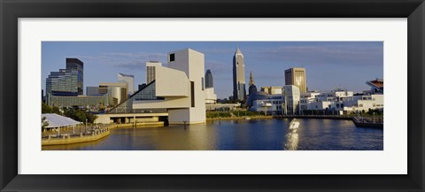 Framed Buildings In A City, Cleveland, Ohio Print
