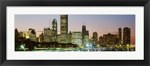 Framed Buildings lit up at night, Chicago, Cook County, Illinois, USA Print