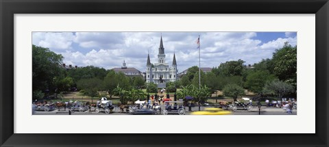 Framed Cathedral at the roadside, St. Louis Cathedral, Jackson Square, French Quarter, New Orleans, Louisiana, USA Print