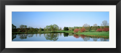 Framed Pond at a golf course, Towson Golf And Country Club, Towson, Baltimore County, Maryland, USA Print