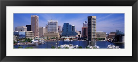 Framed Inner Harbor Federal Hill Skyline Baltimore MD Print