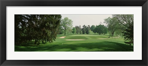 Framed Sand trap at a golf course, Baltimore Country Club, Maryland, USA Print