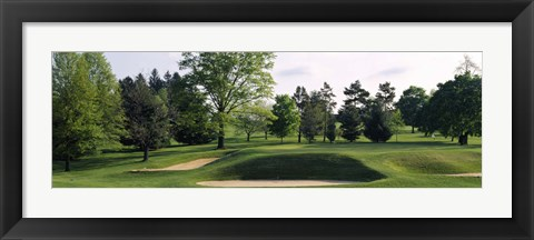 Framed Sand traps on a golf course, Baltimore Country Club, Baltimore, Maryland Print