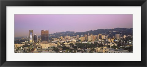 Framed High angle view of a cityscape, Hollywood Hills, City of Los Angeles, California, USA Print