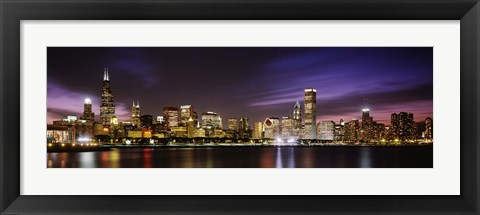 Framed Buildings at the waterfront lit up at night, Chicago, Illinois Print
