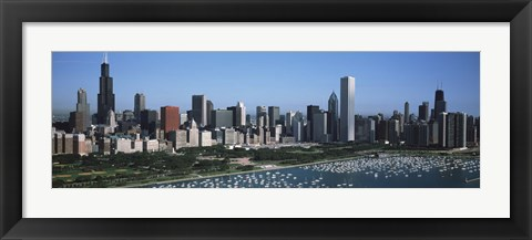 Framed Chicago Skyline with Water Print