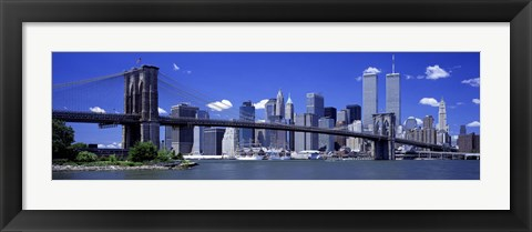 Framed Brooklyn Bridge Skyline New York City NY USA Print