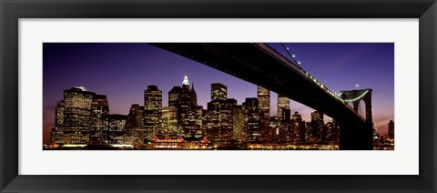 Framed Night Brooklyn Bridge Skyline New York City NY USA Print