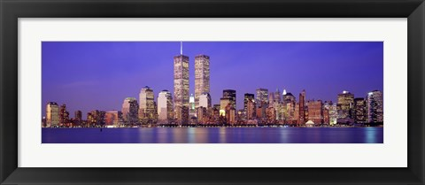 Framed Buildings at the waterfront lit up at dusk, World Trade Center, Wall Street, Manhattan, New York City, New York State, USA Print