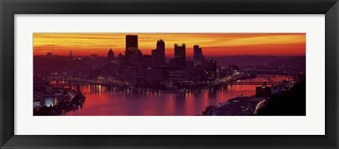 Framed Silhouette of buildings at dawn, Three Rivers Stadium, Pittsburgh, Allegheny County, Pennsylvania, USA Print
