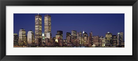 Framed Skyline with World Trade Center at Night Print