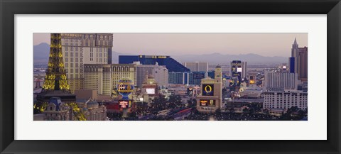 Framed High angle view of buildings in a city, Las Vegas, Nevada Print