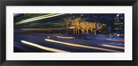 Framed Traffic On The Street At Night, Sixth Avenue, Manhattan, NYC, New York City, New York State, USA Print