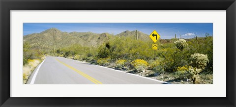 Framed Directional signboard at the roadside, McCain Loop Road, Tucson Mountain Park, Tucson, Arizona, USA Print