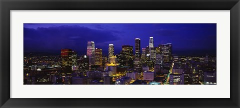 Framed Skyscrapers lit up at night, City Of Los Angeles, California, USA Print