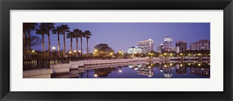 Framed Reflection Of Buildings In The Lake, Lake Luceme, Orlando, Florida, USA Print