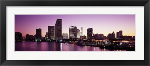 Framed Buildings lit up at dusk, Biscayne Bay, Miami, Miami-Dade county, Florida, USA Print