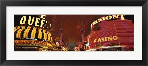 Framed Looking Down Fremont Street Las Vegas NV USA Print
