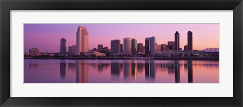 Framed USA, California, San Diego, twiilight Print