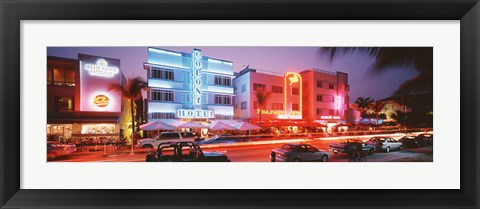 Framed Buildings Lit Up At Night, South Beach, Miami Beach, Florida, USA Print