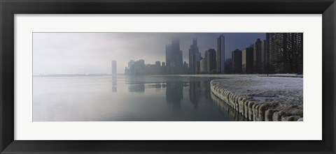Framed Buildings at the waterfront, Lake Michigan, Navy Pier, Michigan, Chicago, Cook County, Illinois, USA Print