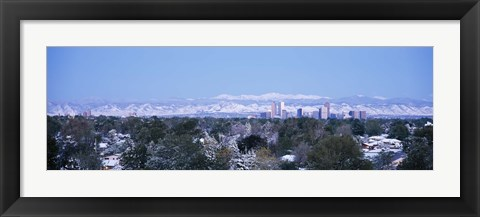 Framed Denver Skyline with Mountains Print