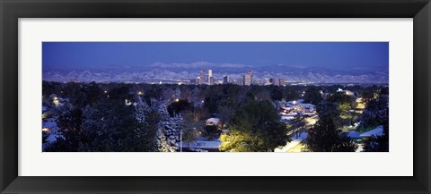 Framed Denver in winter, Colorado Print