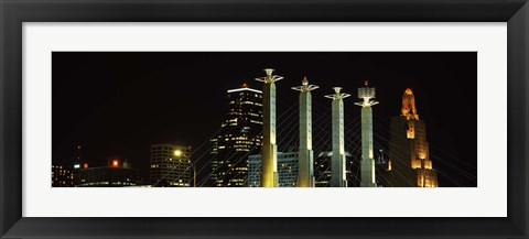 Framed Buildings lit up at night in a city, Bartle Hall, Kansas City, Jackson County, Missouri, USA Print
