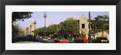 Framed USA, Missouri, Kansas, Country Club Plaza, Traffic on the road Print
