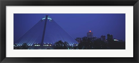 Framed Night The Pyramid and Skyline Memphis TN USA Print