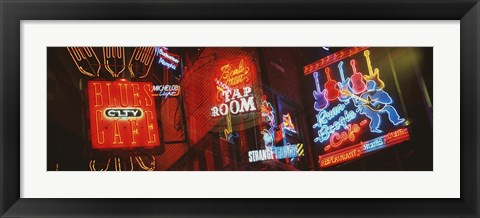 Framed Neon Signs, Beale Street, Memphis, Tennessee, USA Print