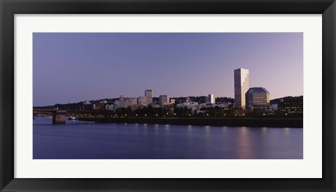 Framed Buildings on the waterfront at dusk, Portland, Oregon Print
