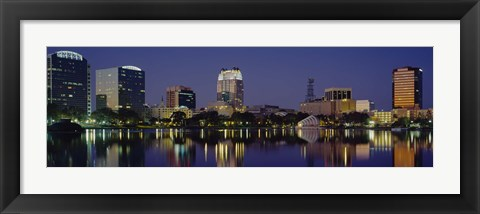 Framed Reflection of buildings in water, Orlando, Florida Print